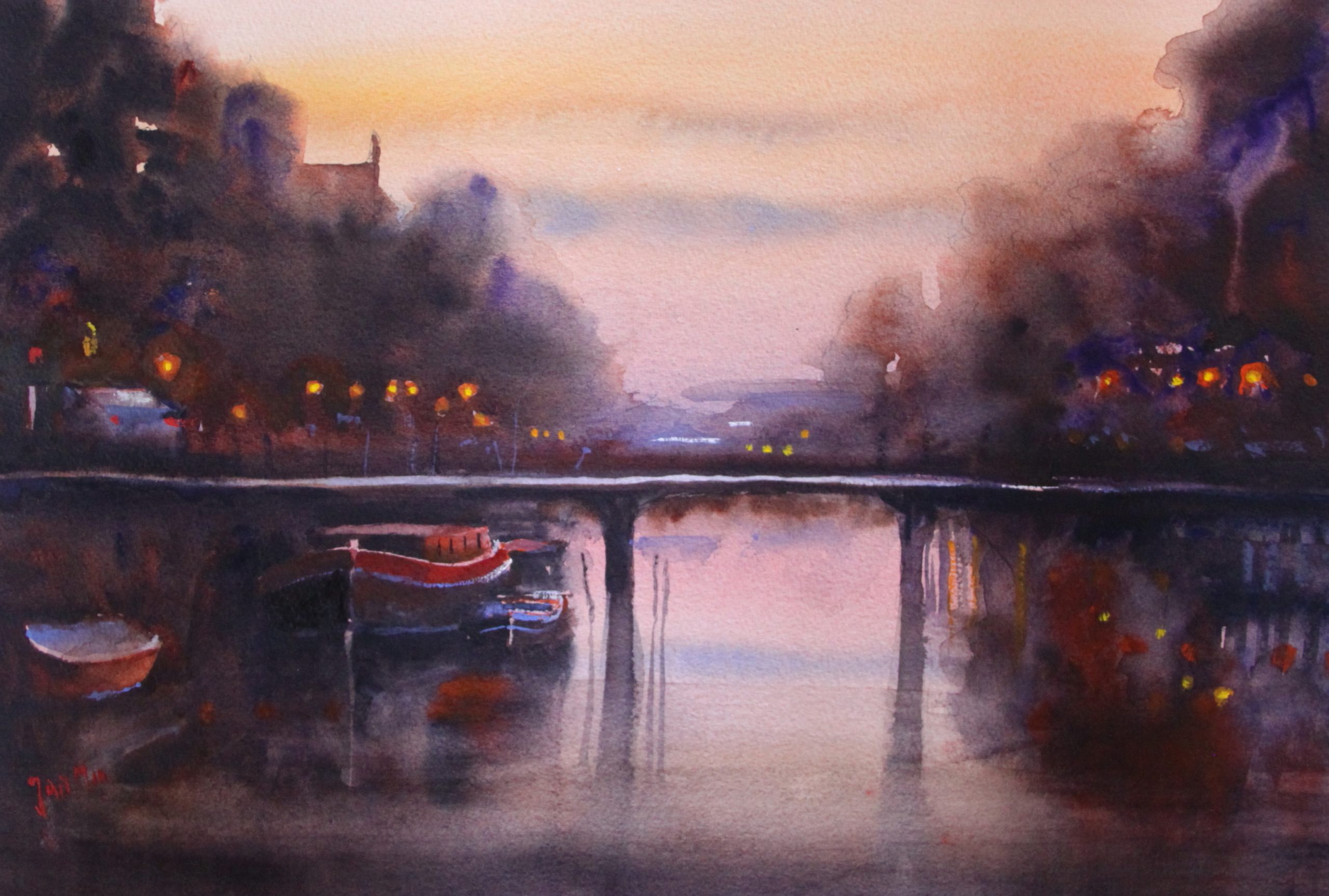 Amsterdam canal sundown 50x 60 watercolor :Jan min. 2017JPG
