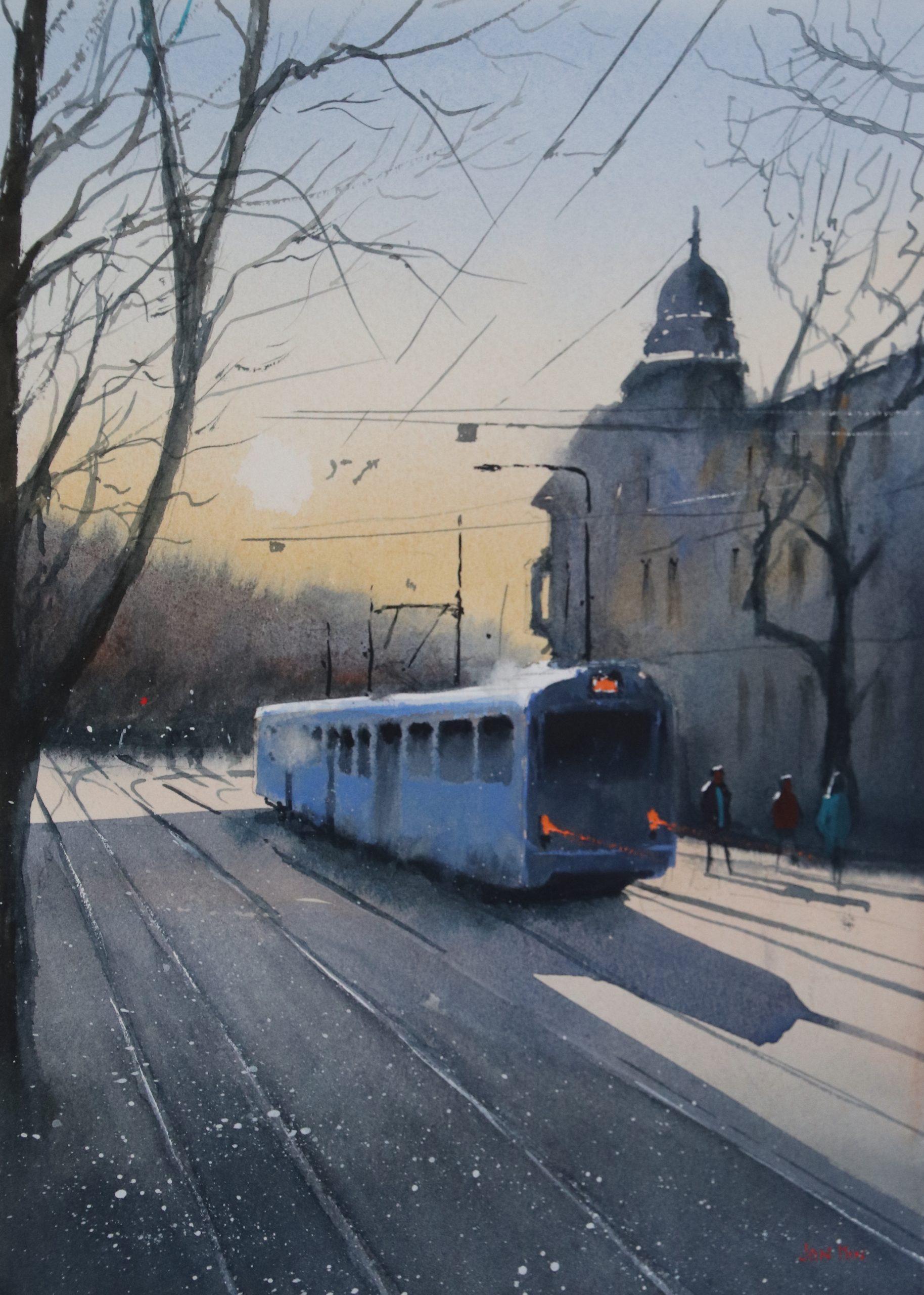 Blue tram,Krakau